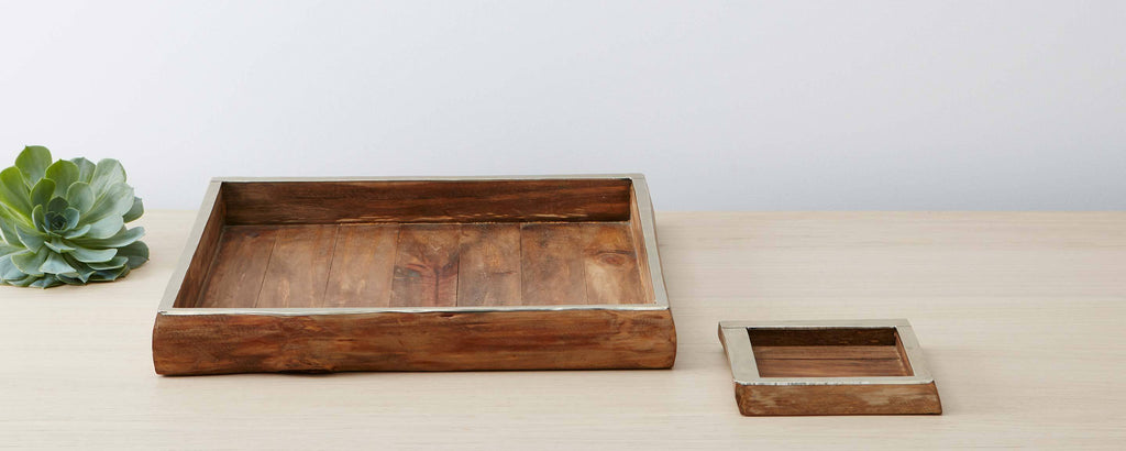 pine and silver trim square trays