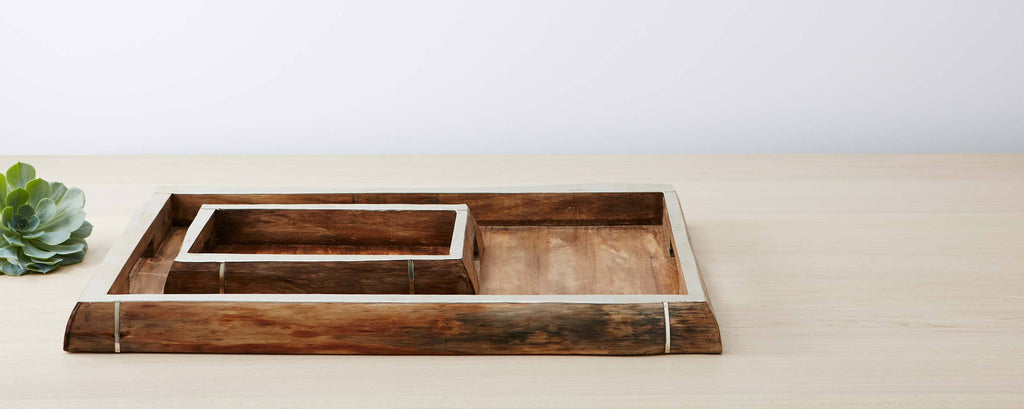 pine and silver trim rectangular trays