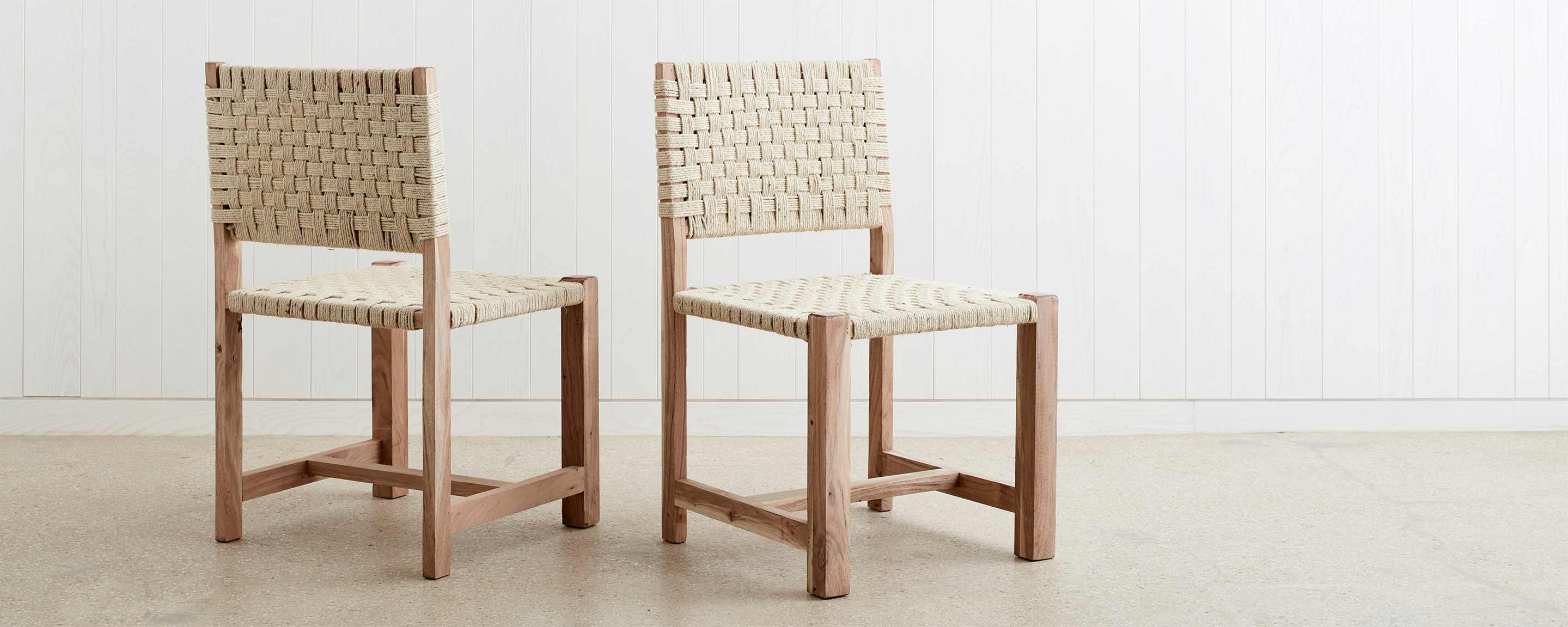 woven jute dining chair