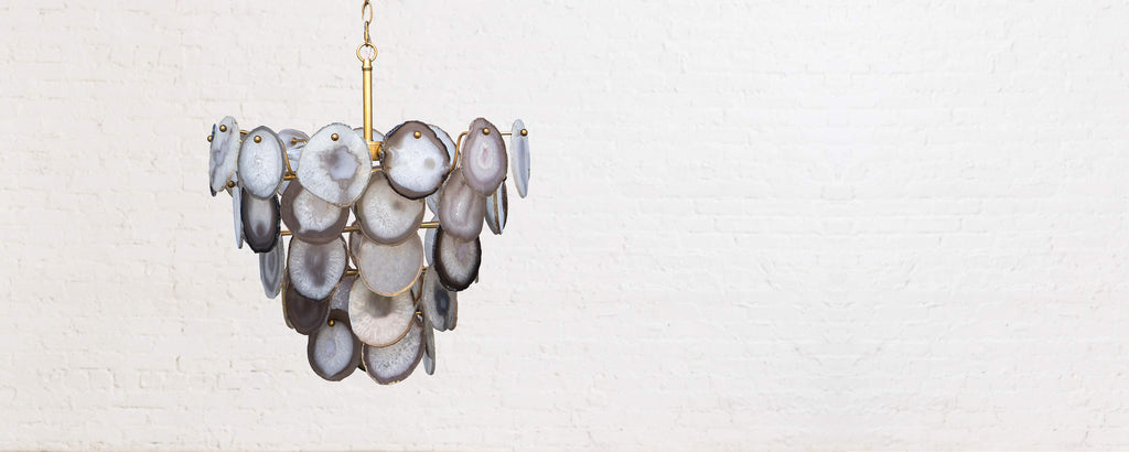 polished nickel and agate chandelier