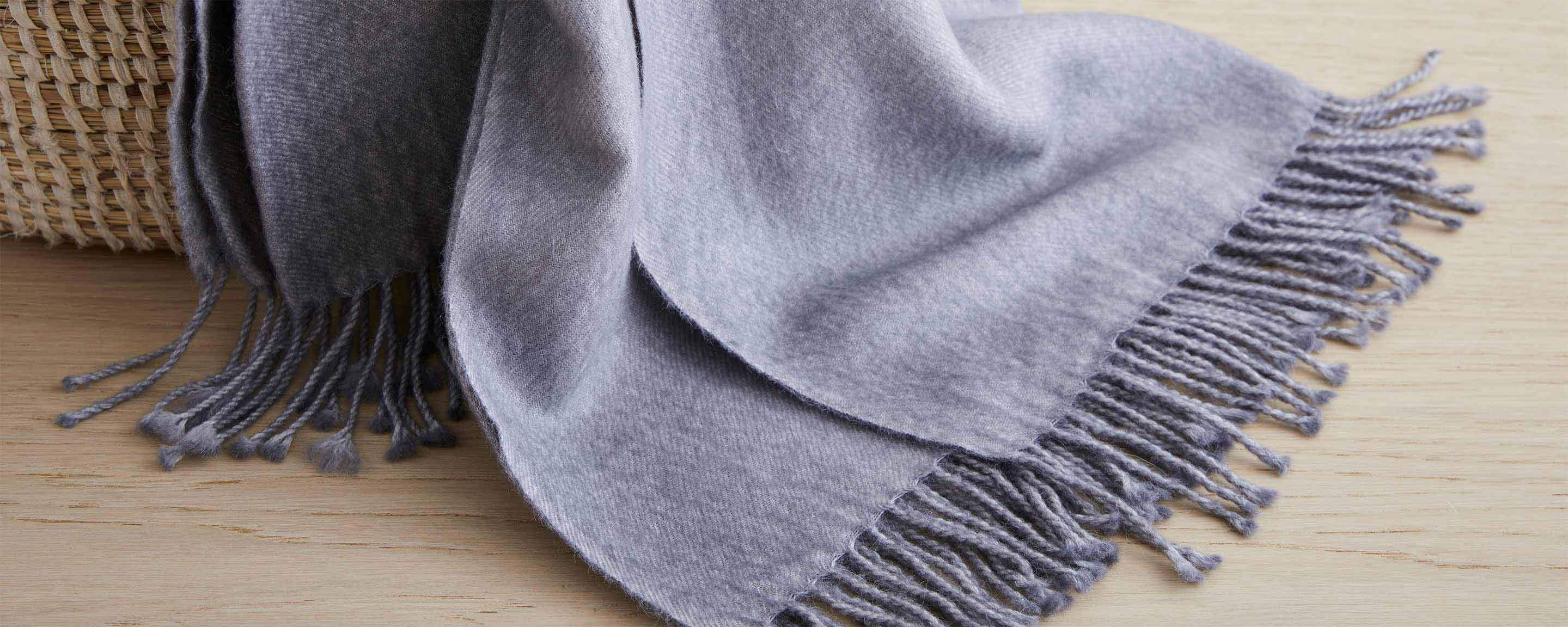 dip dyed alpaca throw, light grey