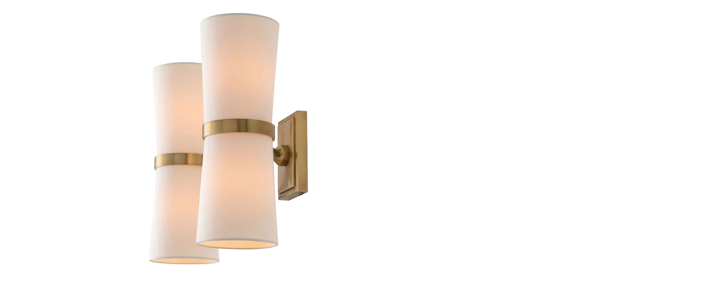 double shade brass sconce