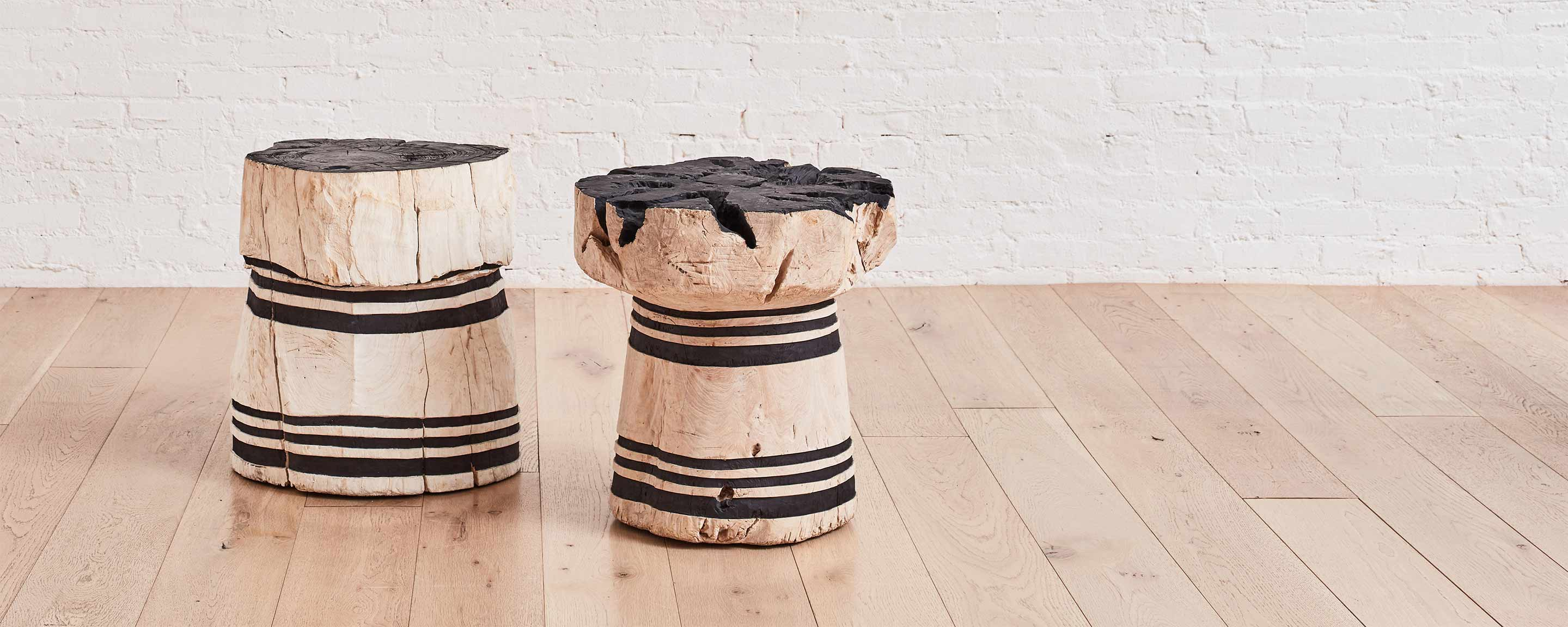 lesung teak striped stool