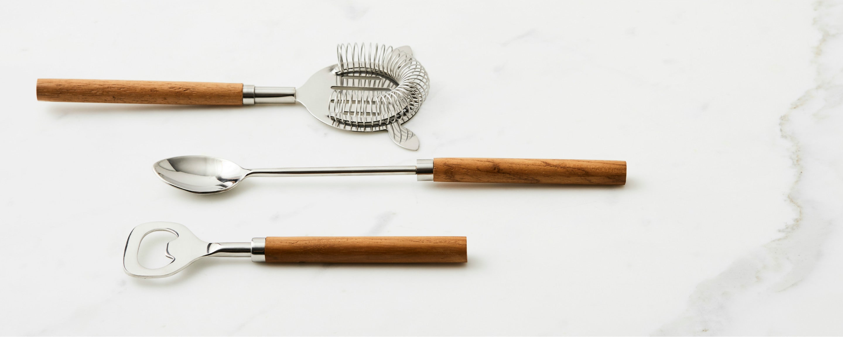 teak and stainless bar tools