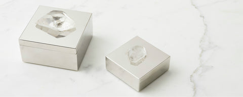quartz and silver boxes