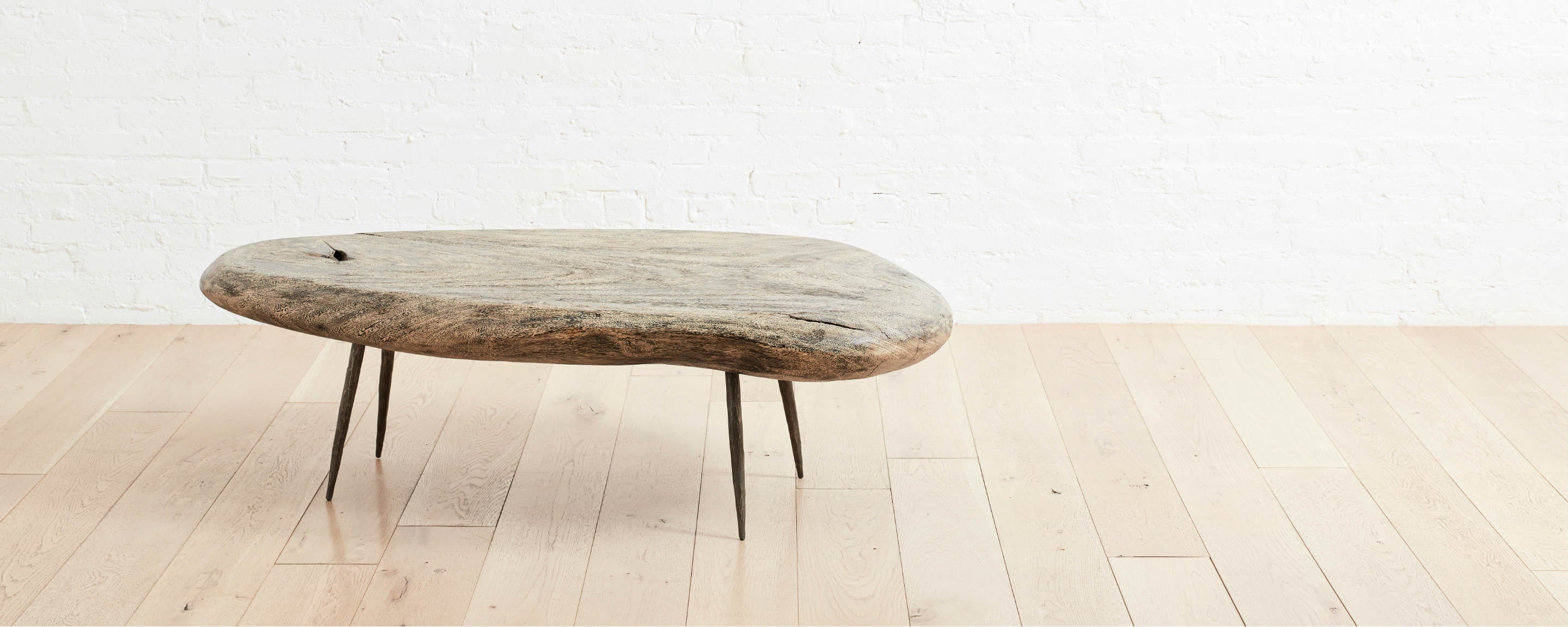portland coffee table with iron legs