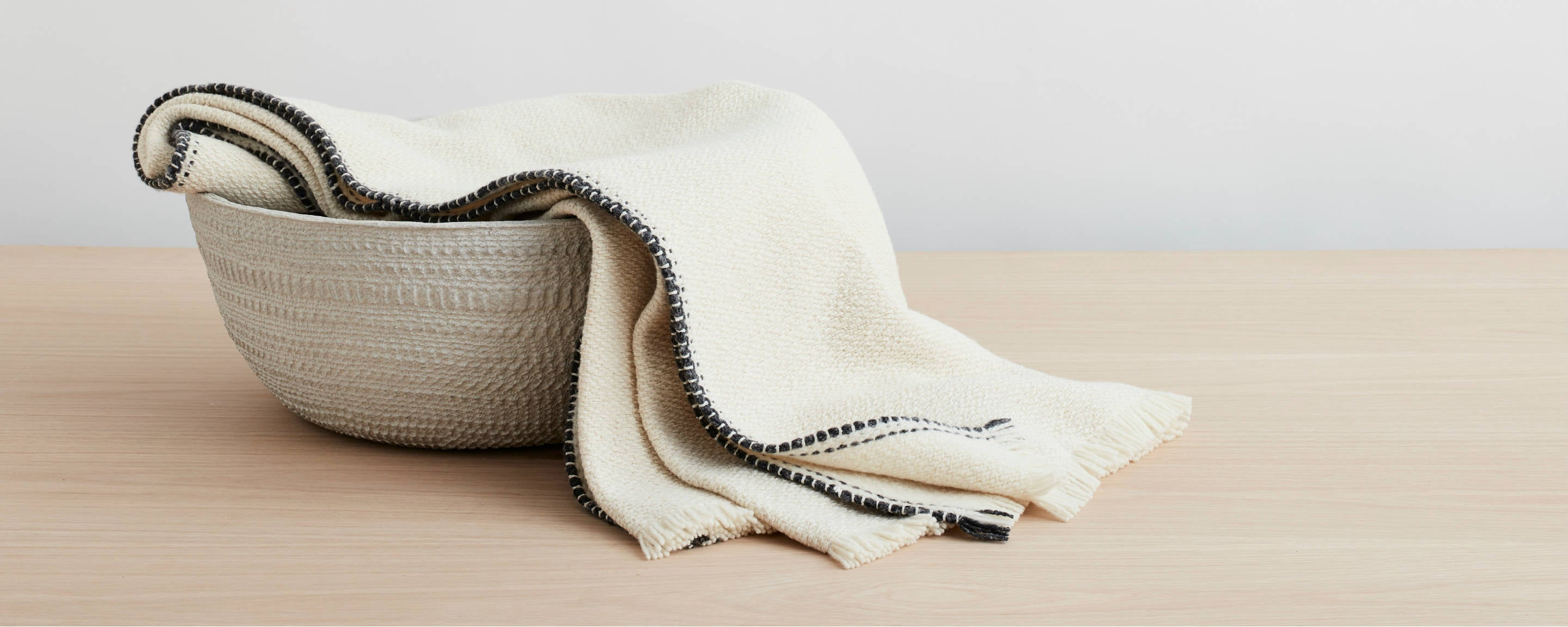 merino and silk natural throw