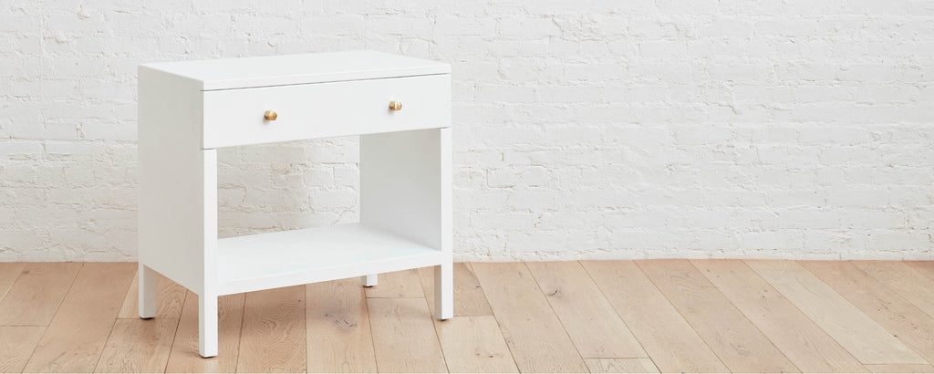 linen bright white wide nightstand
