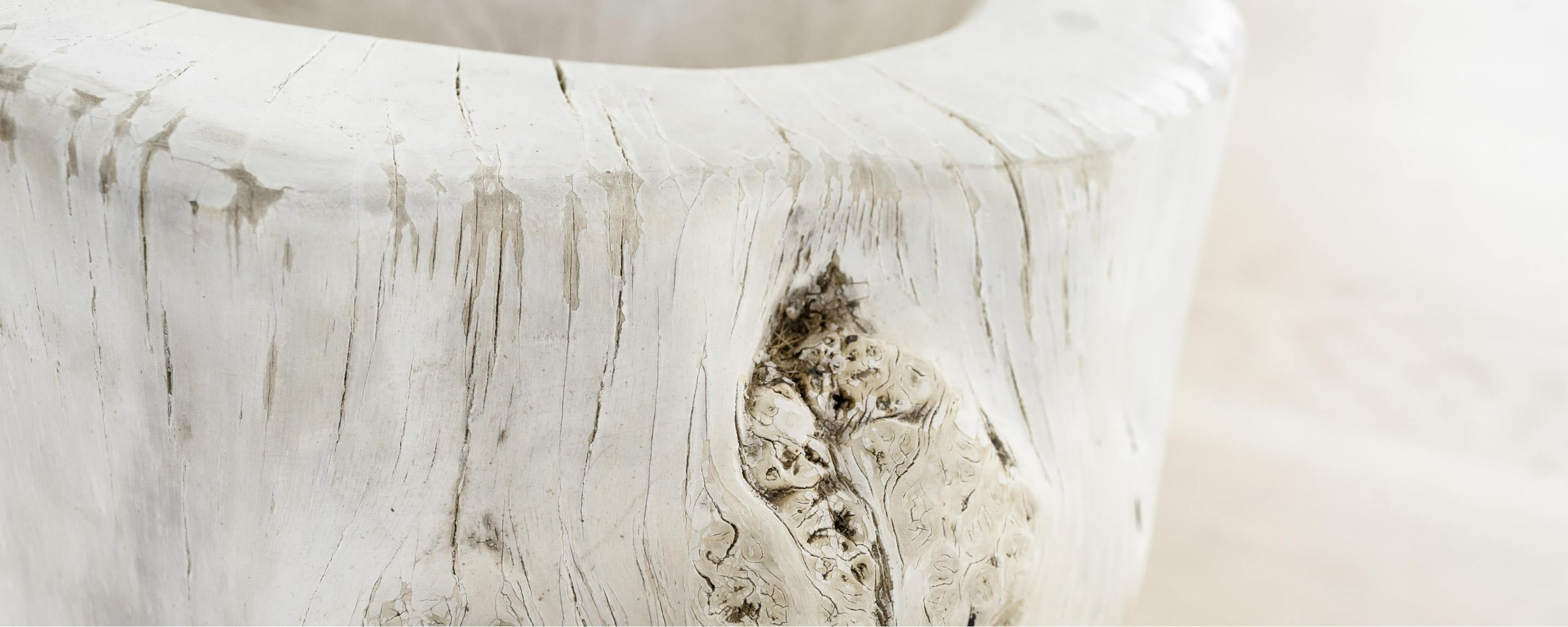 sunbleached carved trunk bowl