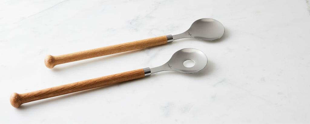 oak and stainless salad servers