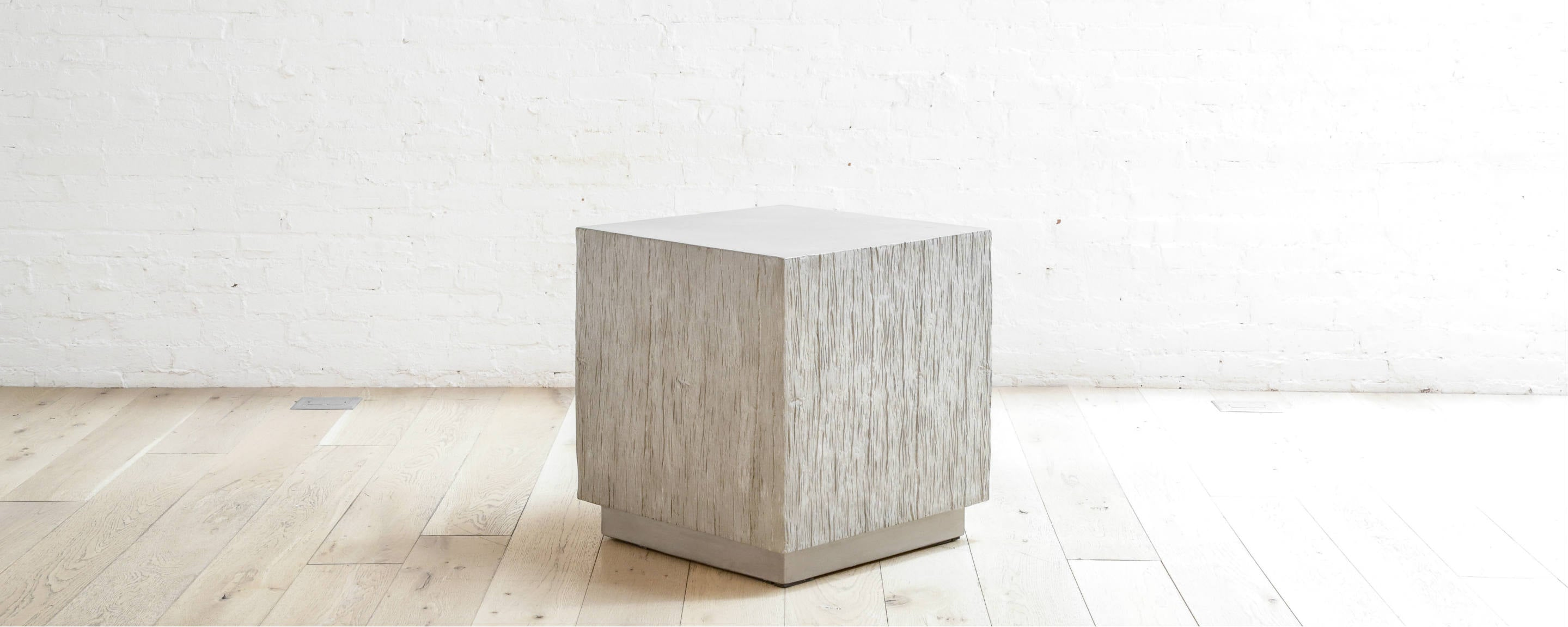faux bois concrete square end table