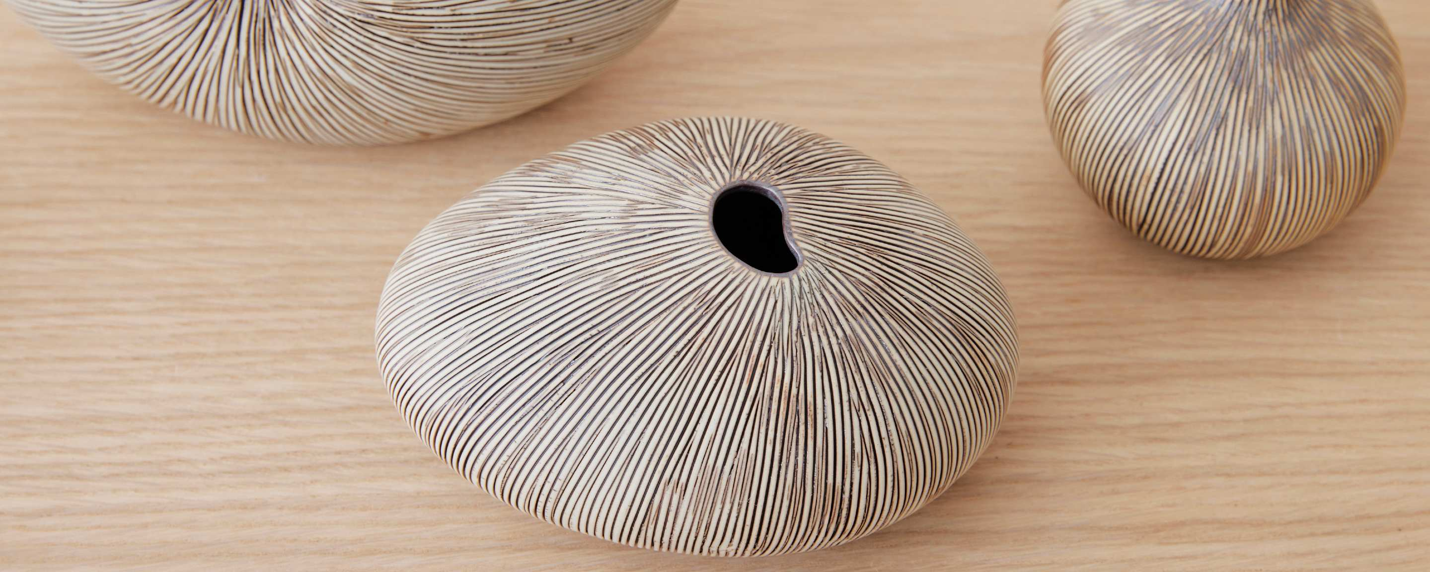 fossil ceramic vase - thin brown and white stripe collection