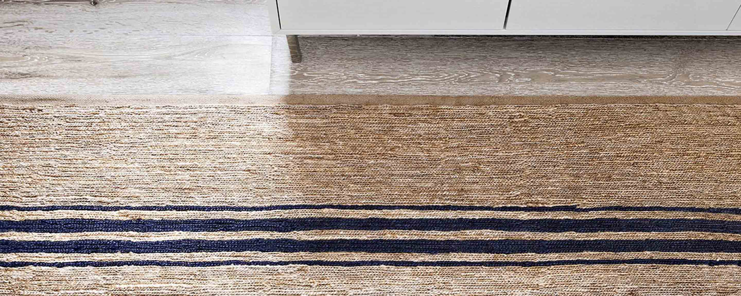 river natural & indigo ticking stripe area rugs