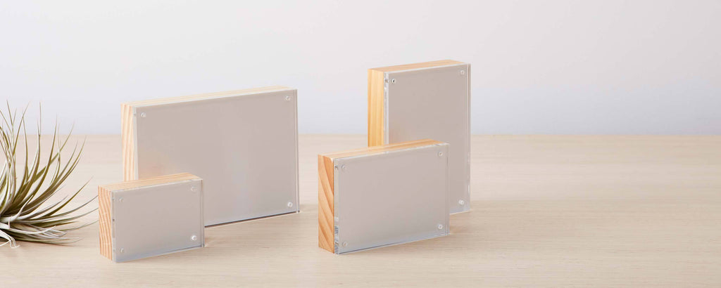 lucite and wood block photo frames