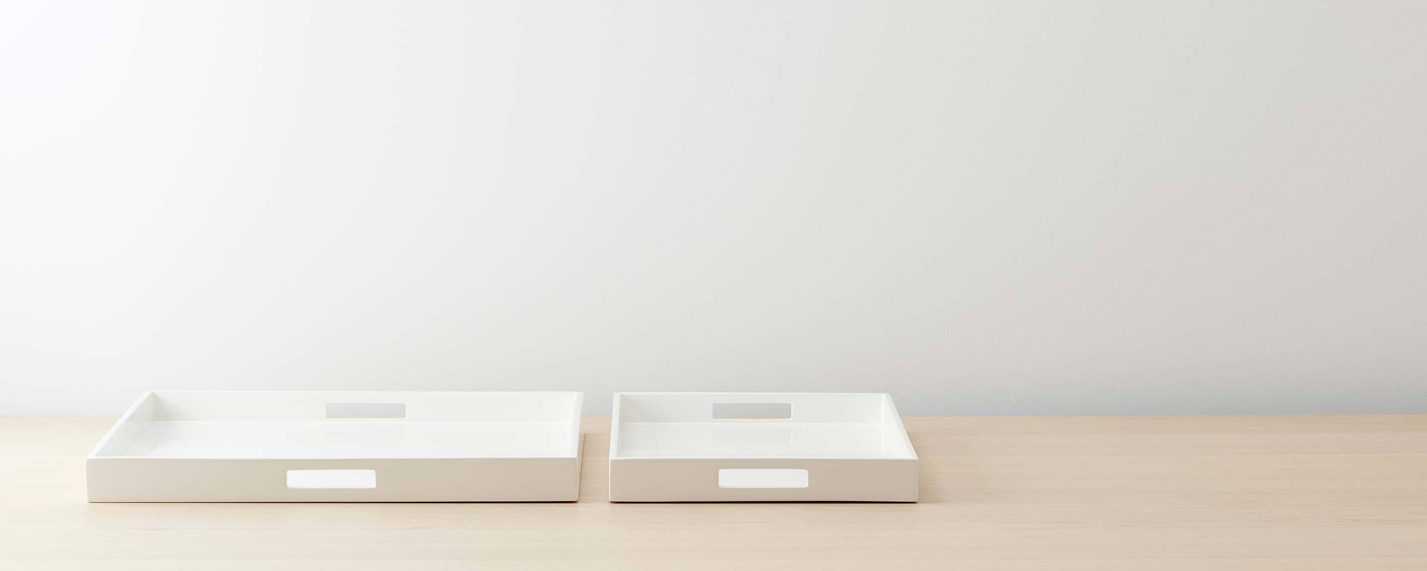 white lacquered trays