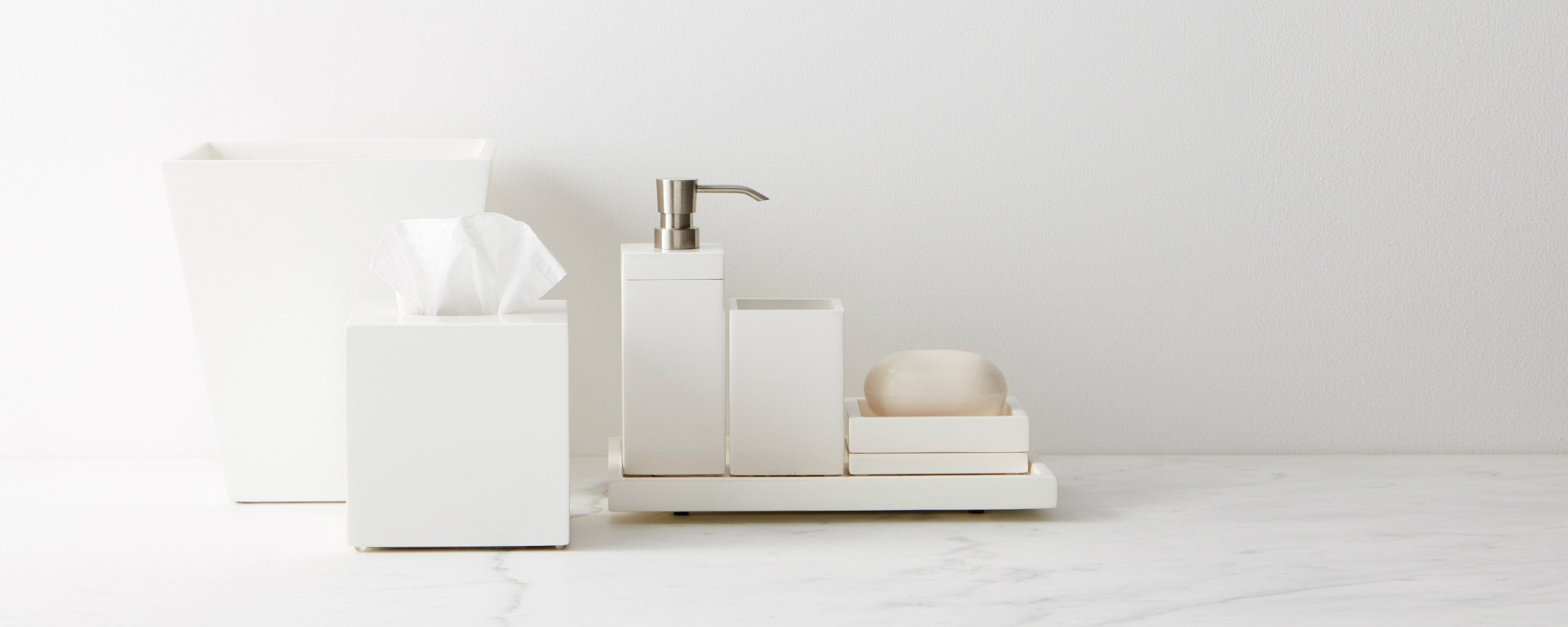 white lacquer bath collection