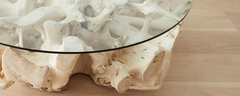 the bleached teak root round coffee tables