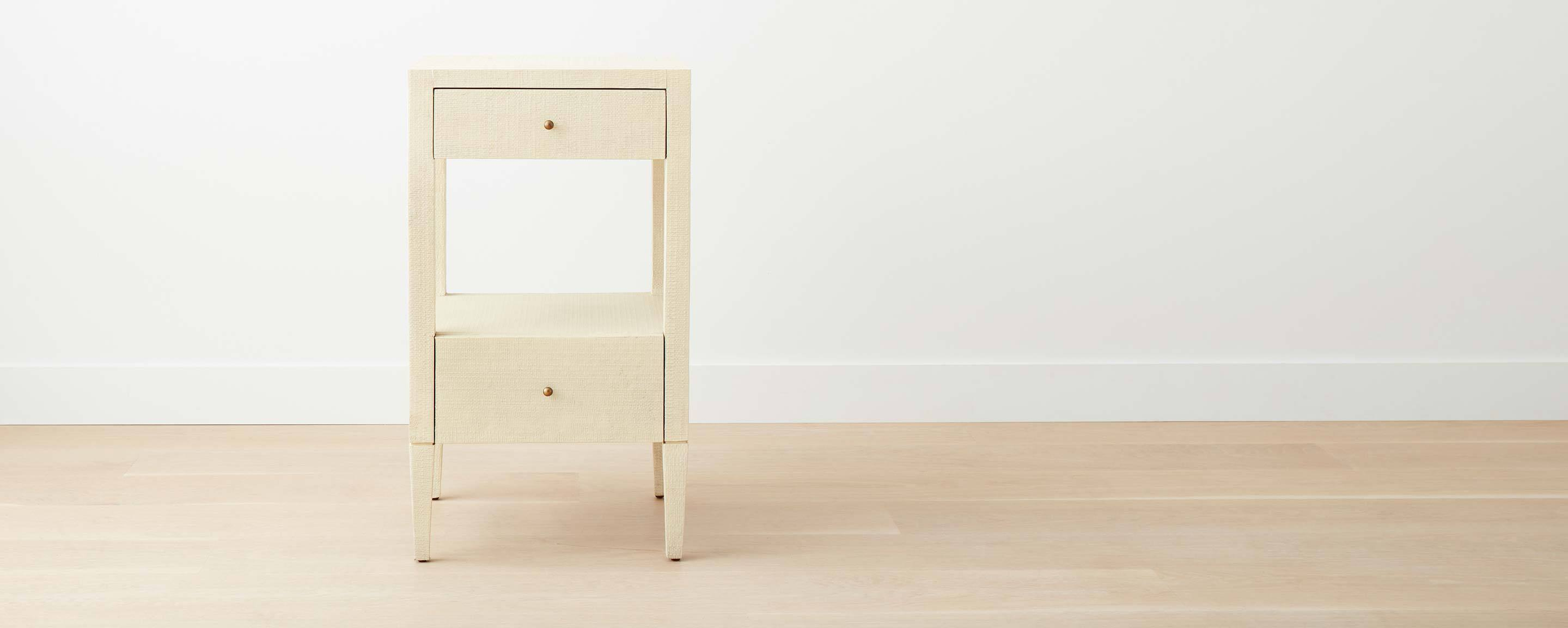 faux raffia square nightstand, off-white