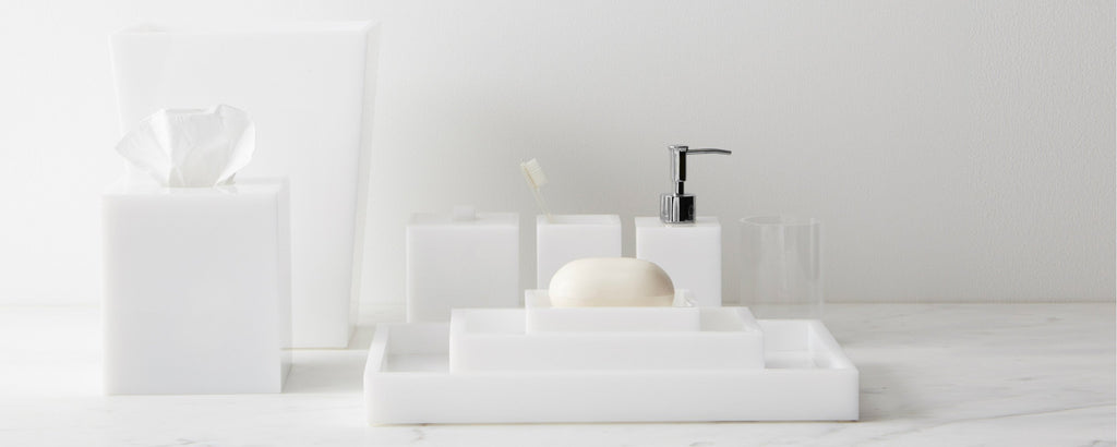 white lucite bath collection