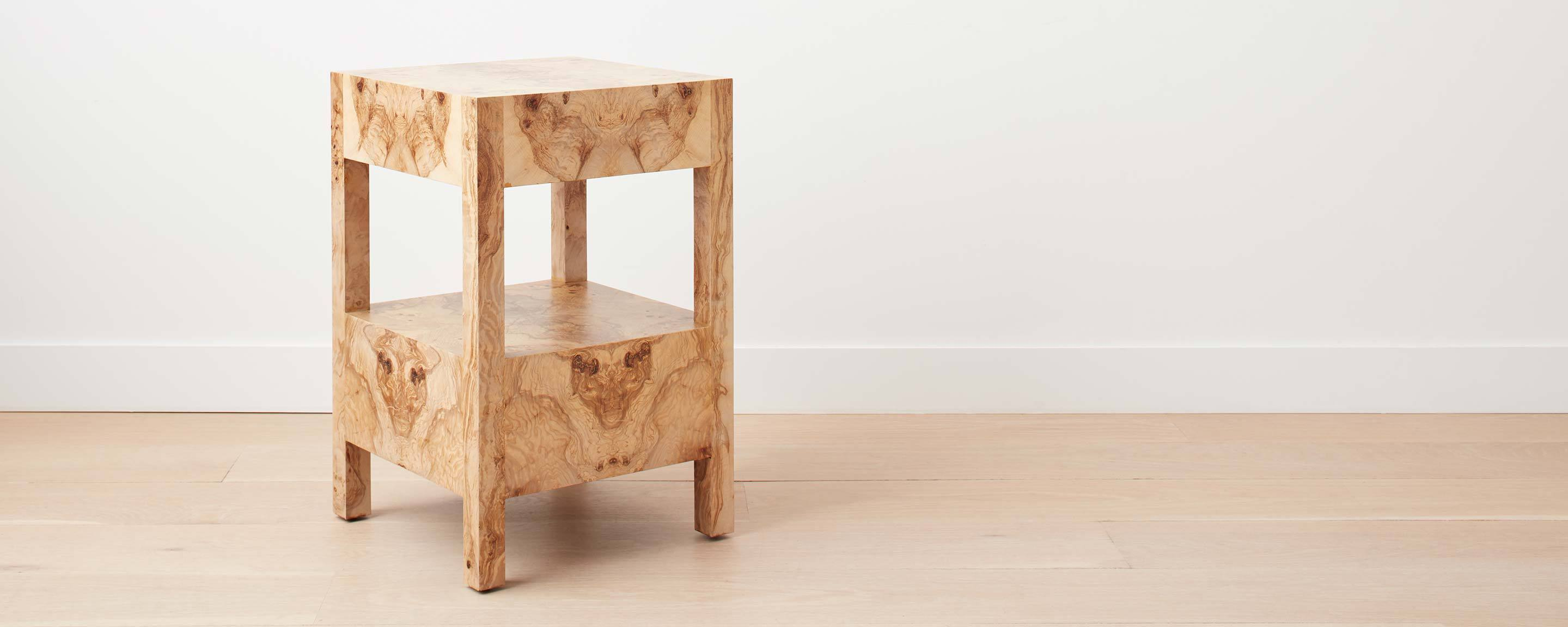 olive ash burl wood square nightstand