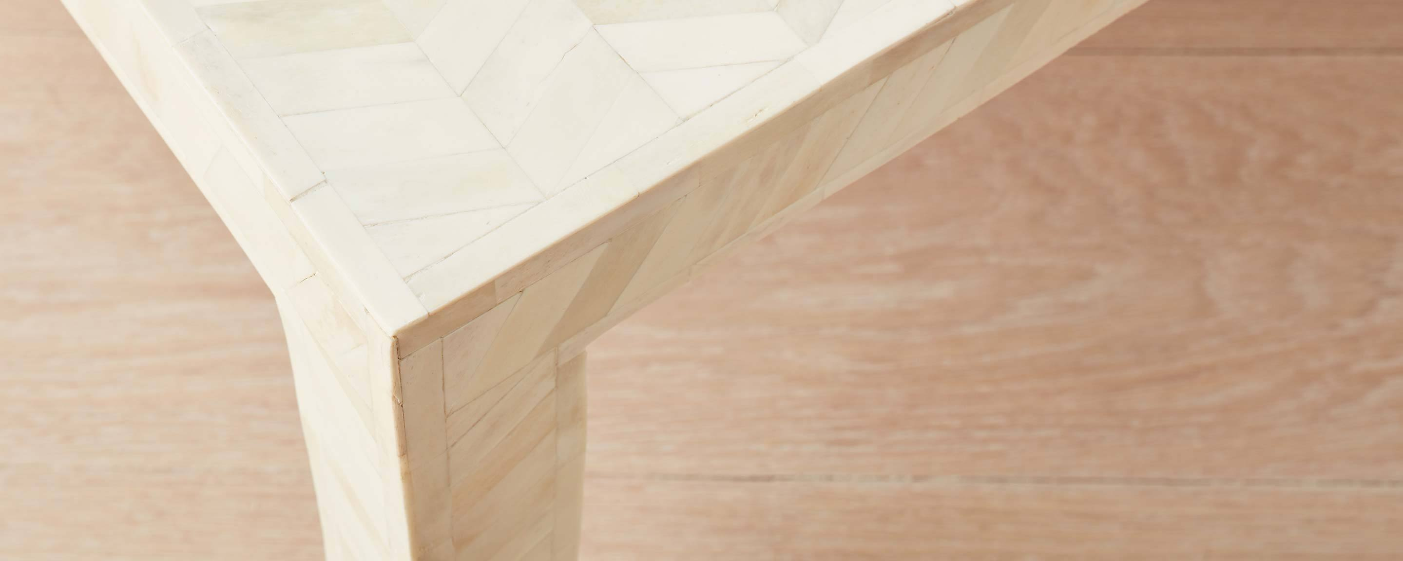 the bone herringbone square coffee table
