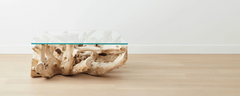 the bleached teak root square coffee tables