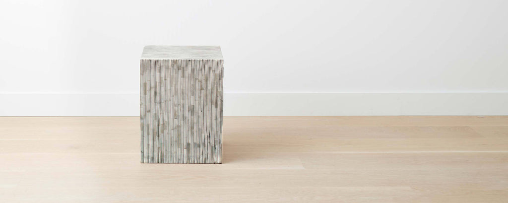 bone inlay stripe square stool
