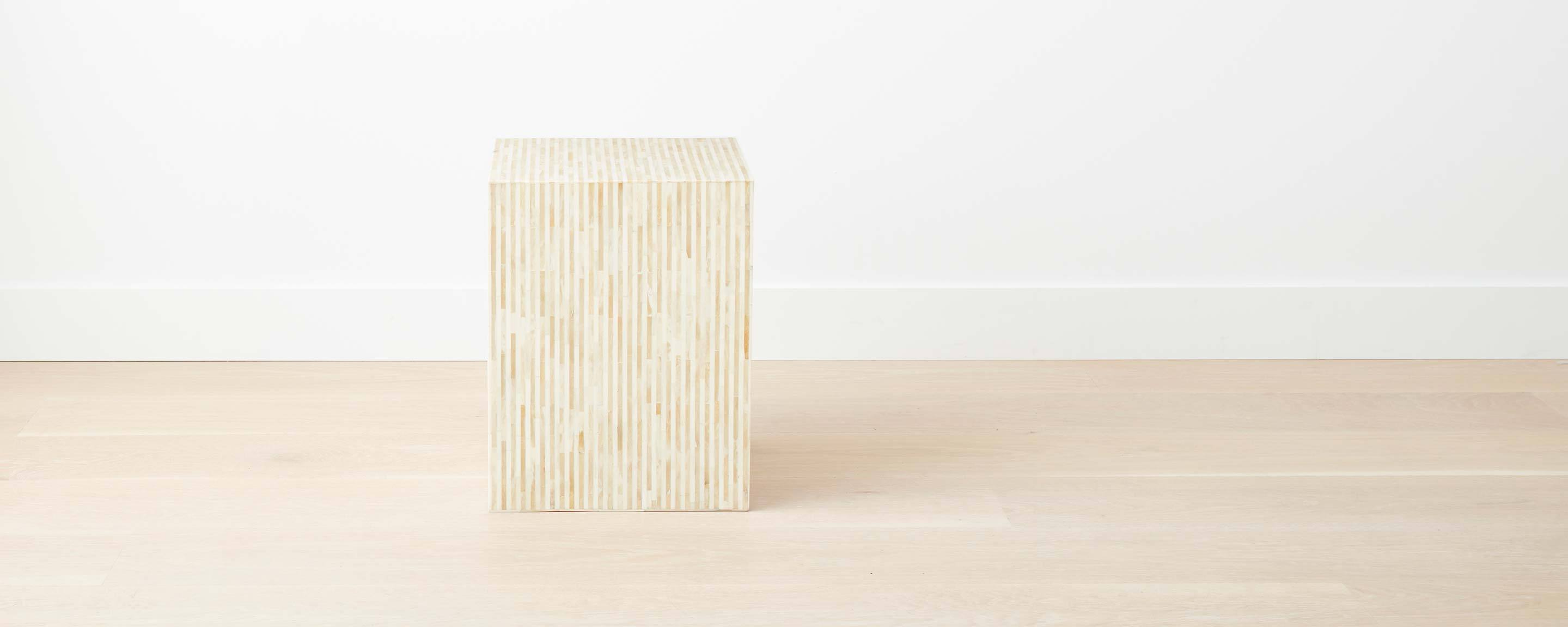 bone inlay square stool