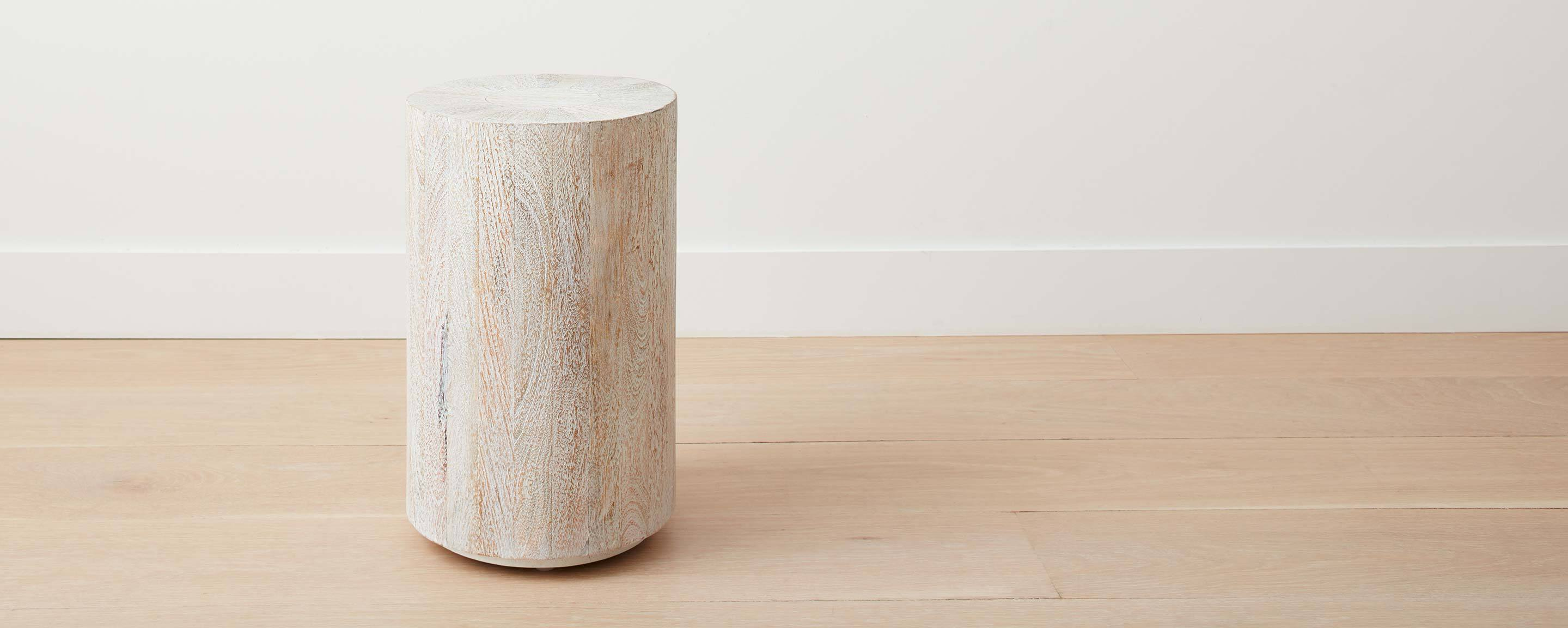 driftwood drum end table/stool