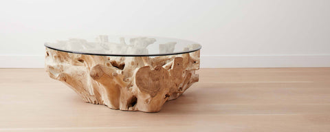bleached teak root coffee tables, round