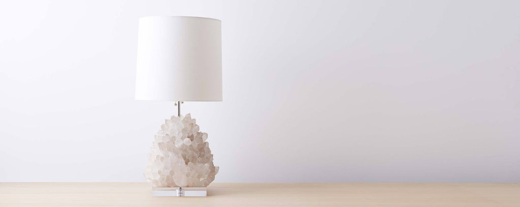 clear quartz medium table lamp with lucite base