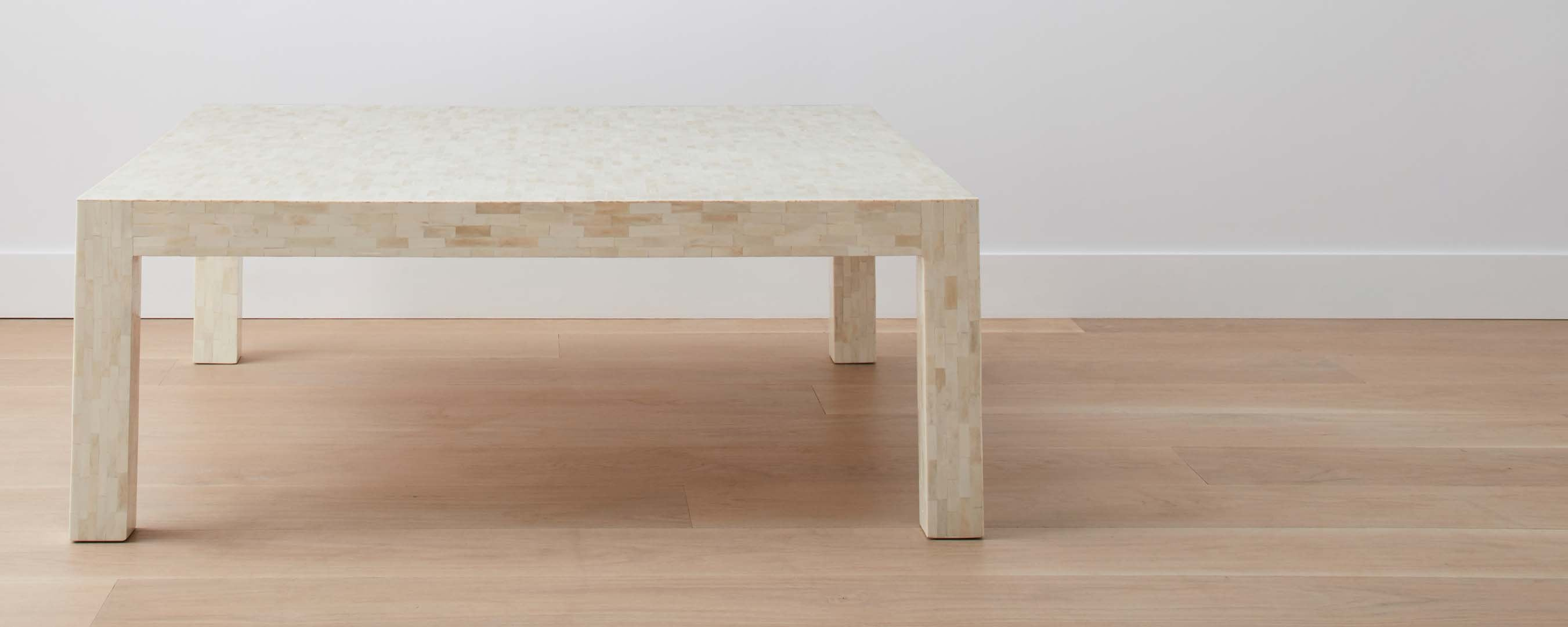 bone parsons coffee table, square