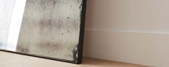 steel frame antiqued mirror
