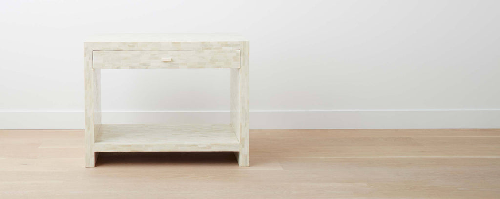 white bone end table with drawer, wide