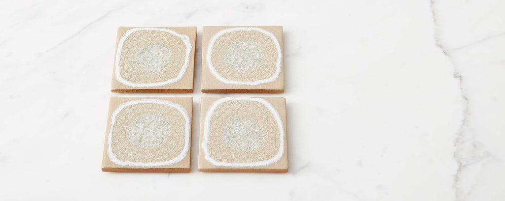 sand glazed crackle coaster