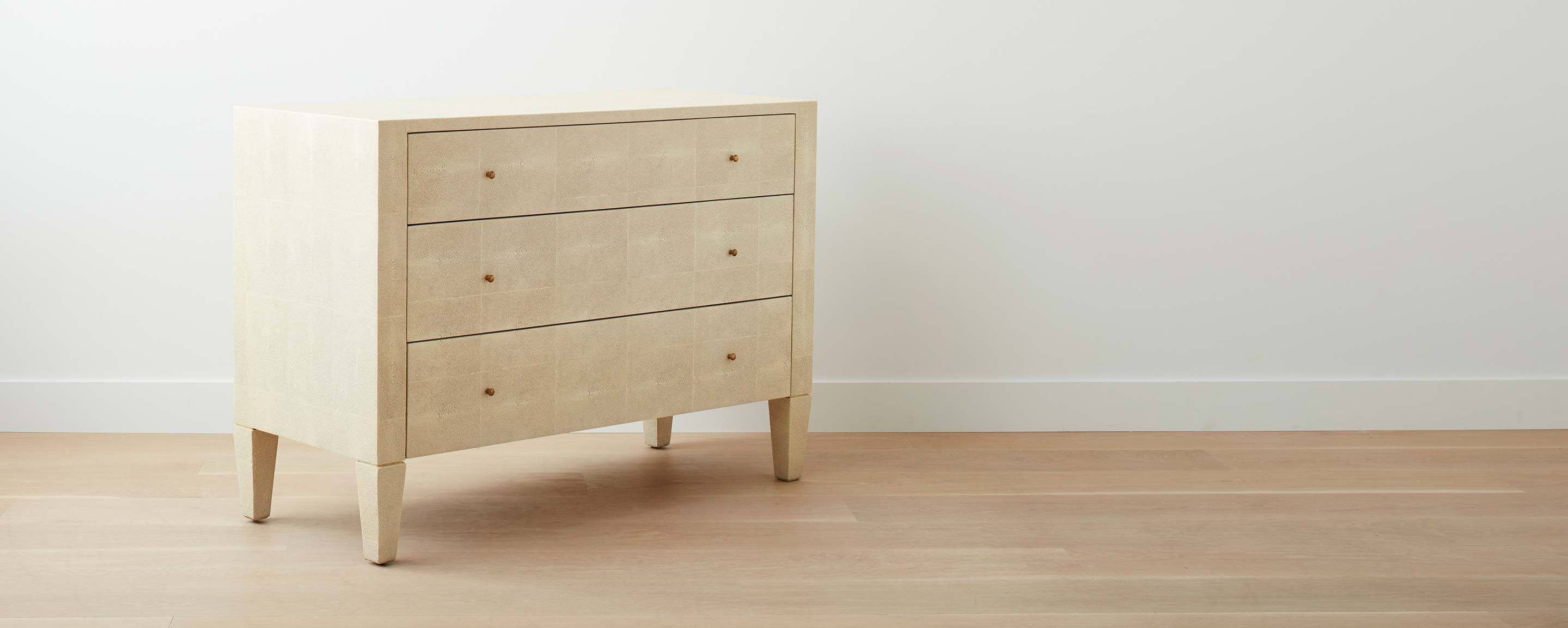 Faux Shagreen Dresser, Off White ...