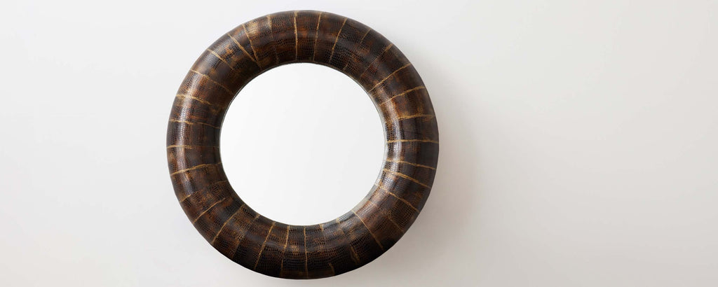wood and horn round mirror