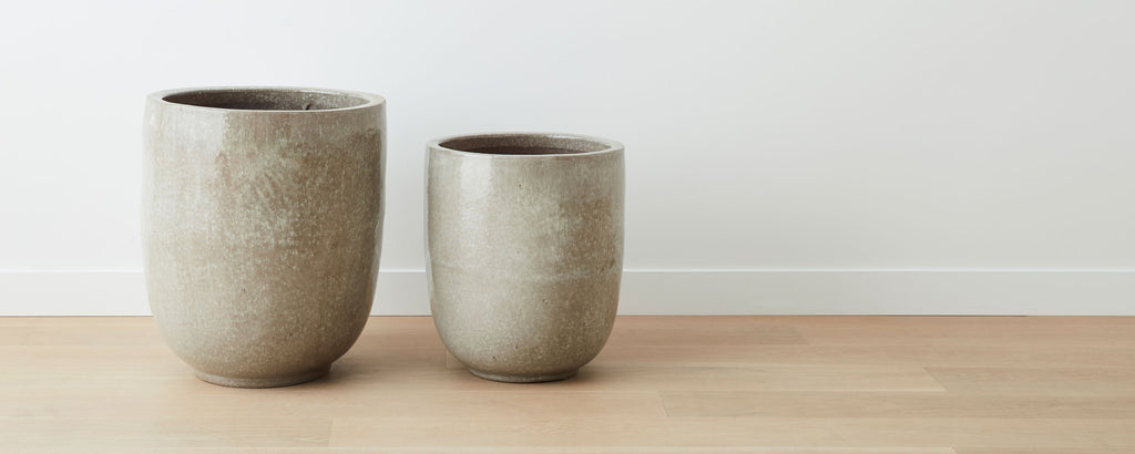 ashen glazed ceramic pots