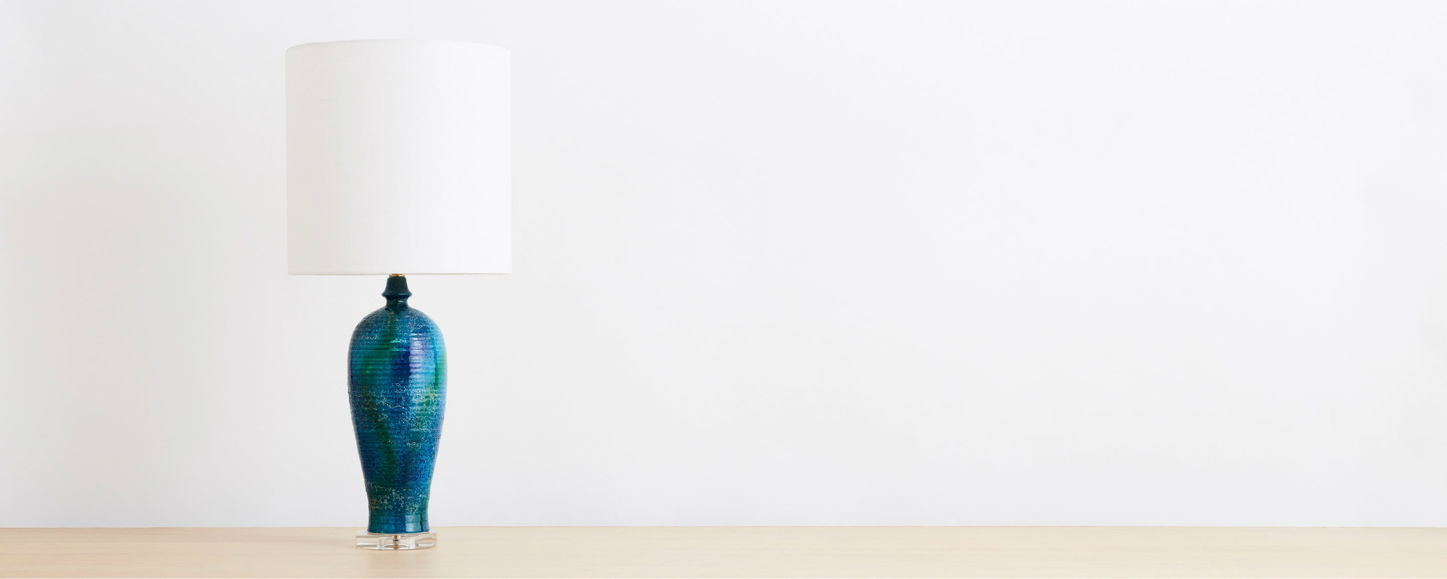 midcentury ceramic blue / green table lamp