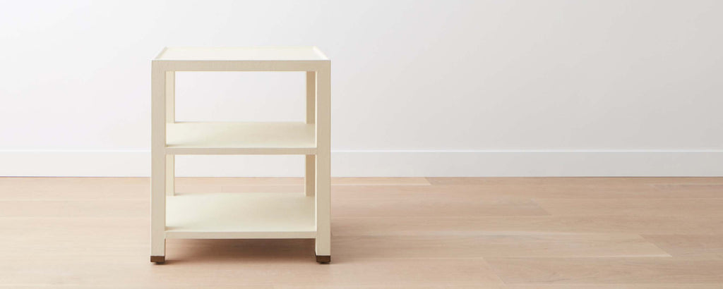 triple-tier shelf linen end table