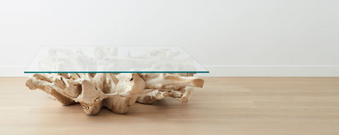 bleached teak root coffee tables, square