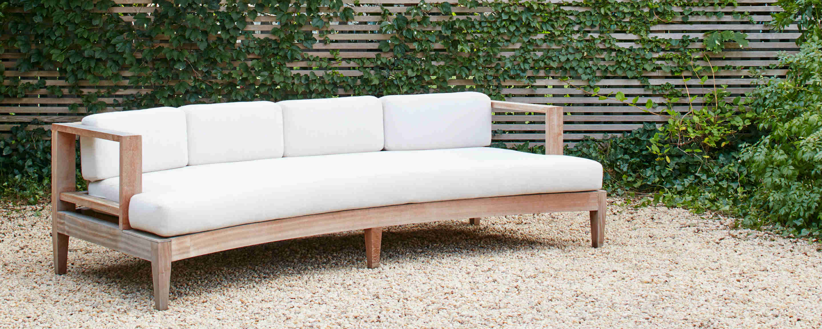 sapele wood outdoor curved sofa
