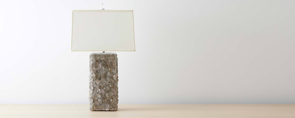grey quartz crystal table lamp