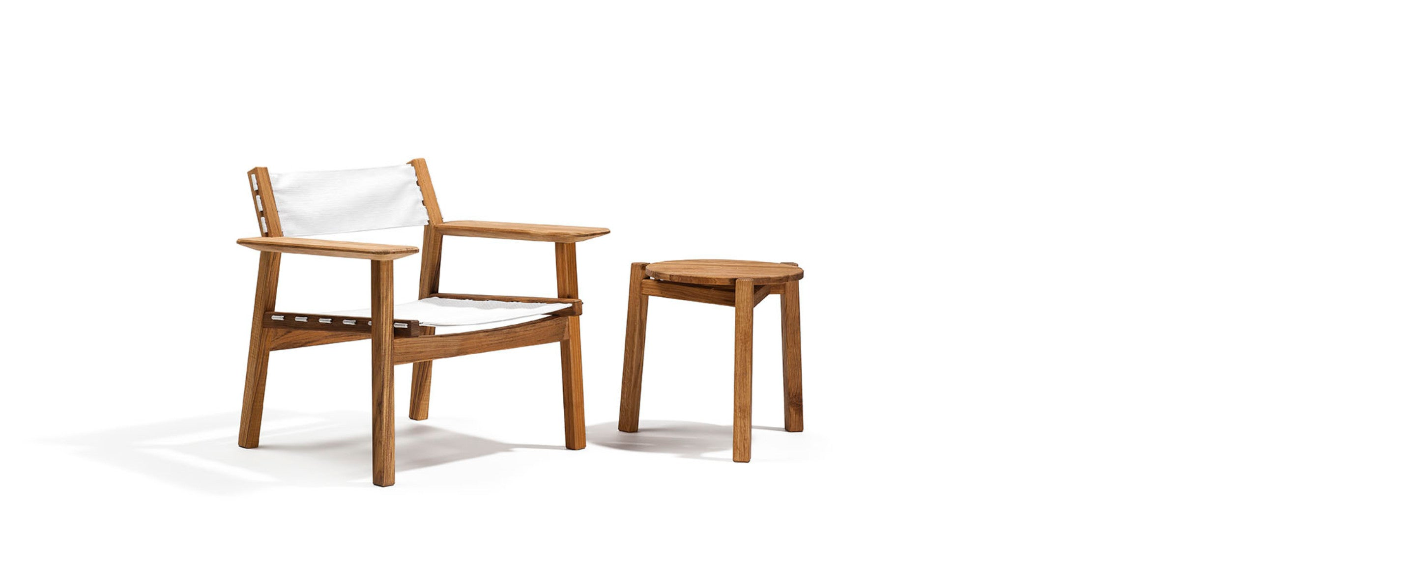 djuro teak lounge armchair with batyline seat