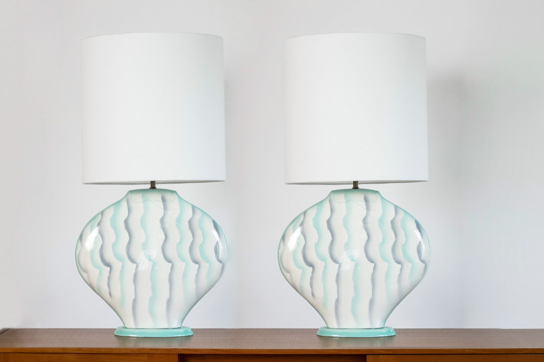 vintage pair of 1980s ceramic table lamps on lucite base