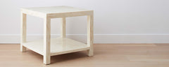 bone parsons end table with shelf