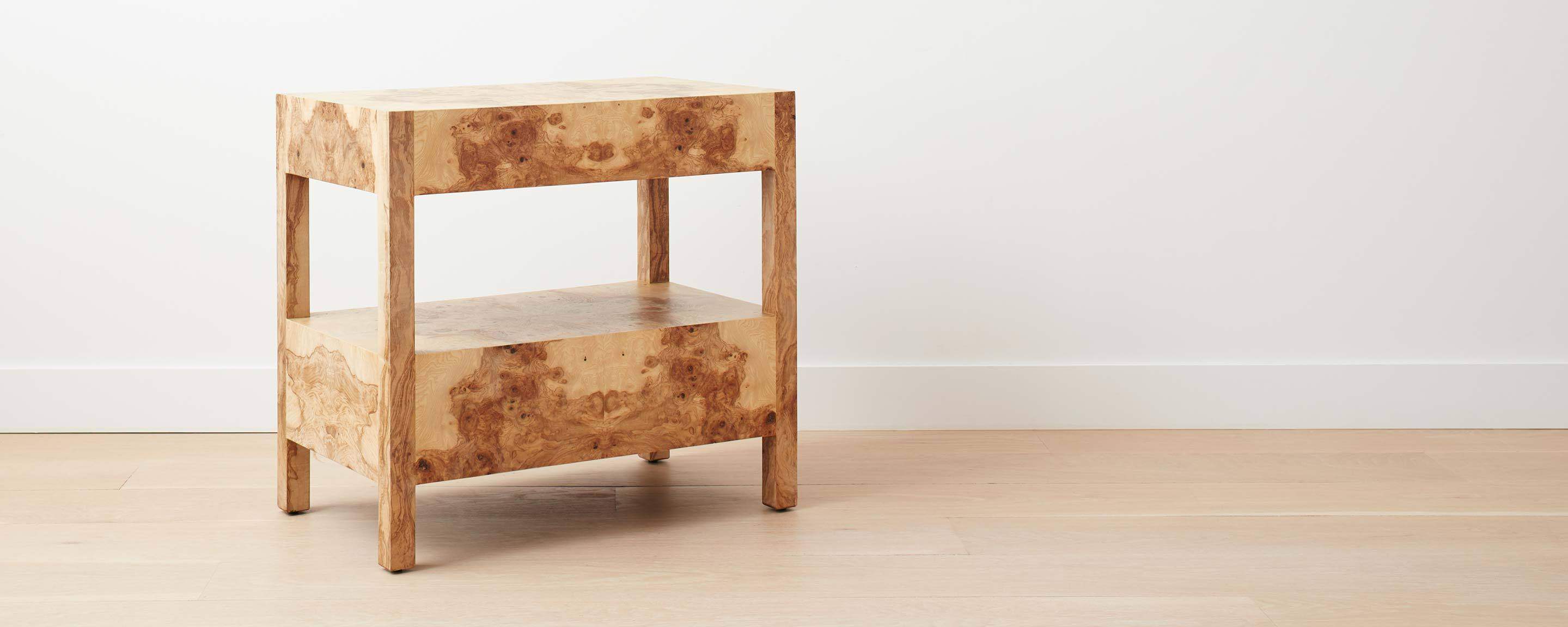 olive ash burled wood wide nightstand