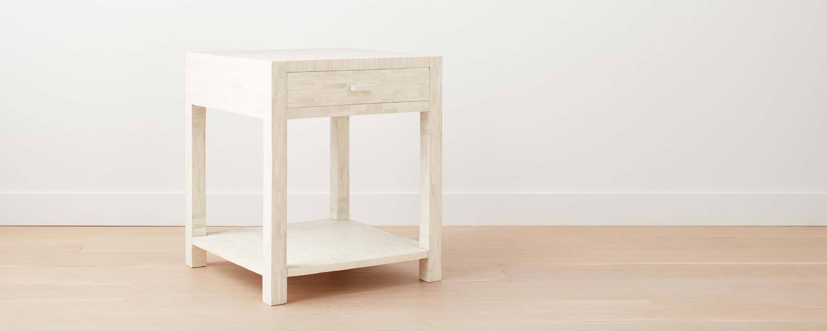 etched bone square nightstand (floor model)
