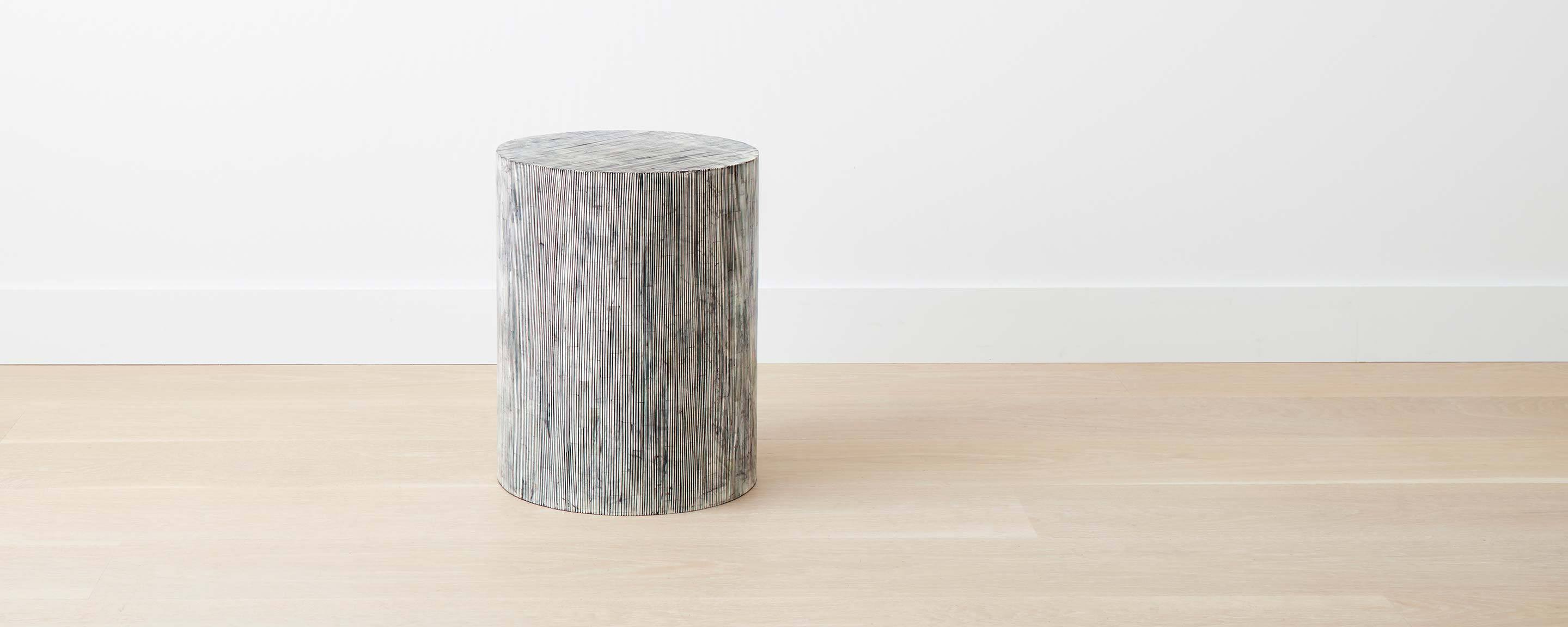 bone inlay stripe round stool