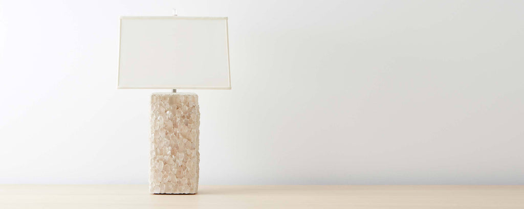 white quartz crystal table lamp